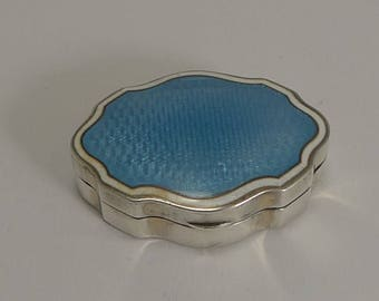 Pretty Shaped English Sterling Silver and Enamel Pill Box - 1910