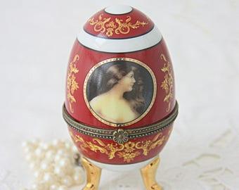 Vintage Limoges Egg-Shaped Footed Trinket Box, Portrait Decor, Handpainted, France