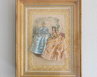 Antique Large French Fashion Diorama, Victorian Fashion Shadow Box, Fashion Illustration in Gilded Wooden Frame, Victorian Era Clothing