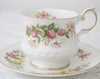 Vintage Queens Rosina Bone China Cup and Saucer, Centenary Dear, Red Clover Decor, England
