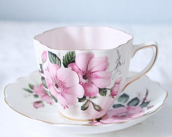 Vintage Old Royal English Cup and Saucer, Wild Pink Rose Decor, England