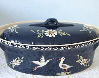 Vintage Large Blue Foie Gras Tureen, Pate Pot, Bird and Flower Decor