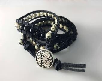 Handmade Leather Wrap Bracelet With Onyx & Moon Stones