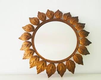 Mirror Sun sheets Vintage/vintage leaves sunburst mirror