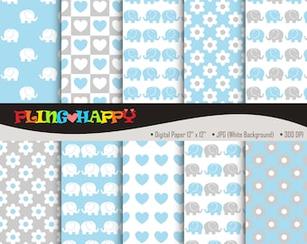 70% OFF Baby Elephant Blue Digital Papers, Baby Elephant/Flower/Love Pattern Graphics, Personal & Small Commercial Use, Instant Download