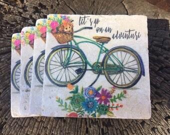 Coaster Set-Adventure Coaster Set-Travertine tiles-Housewarming gift- Bike Coaster set-Farmhouse Decor-Wedding gift- Bike with Basket