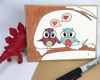 Owls in a Tree Valentine's Card // Love Card // Friendship Card // Anniversary Card