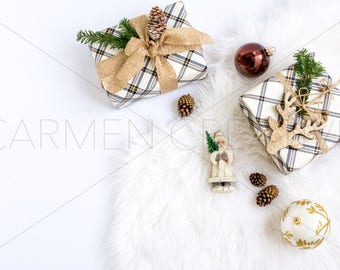 Brown and White Christmas Stock Photography / Holiday Stock Photography / Product Background