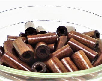 Wood tube beads;  stained and polished, wood tube beads,18x7mm, 20pcs/1.80.