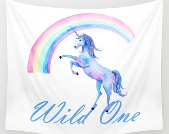 Wild One Unicorn Wall Tapestry Pastel Rainbow Font Blue White Quote saying Words Dorm Room Apartment Boho Home Decor