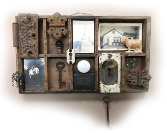 Happy as Kings Found Object Assemblage — Rustic Found Object Assemblage — Antique Key Assemblage