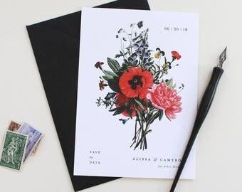 Modern Botanical Save the Date, Vintage Floral Save the Date, Save the Date, Modern Save the Date Card, Black Envelope, Vintage Illustration