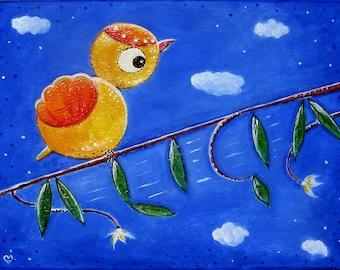 Little bird on branch - customizable painting in acrylic on wood