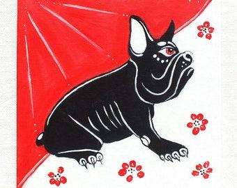 Bulldog - acrylic painting on canvas for child