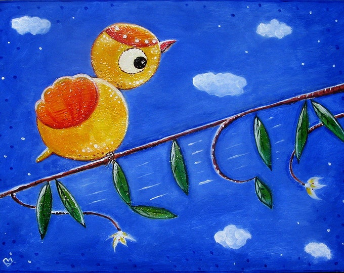 Little bird on branch - customizable painting in acrylic on wood