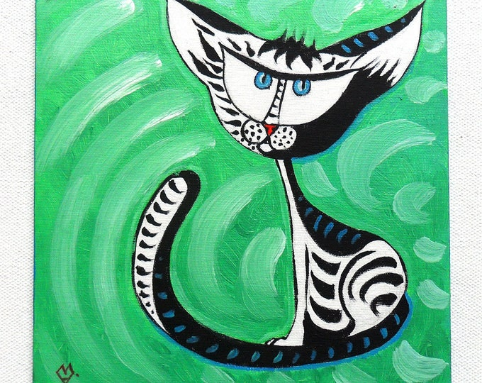 Cat on green background - acrylic painting on canvas for child