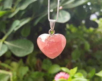 "Rhodochrosite Sterling Silver Heart Pendant with Sterling Silver 18"" chain"