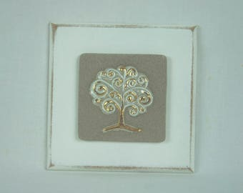 Porcelain plaque tree of life gold small