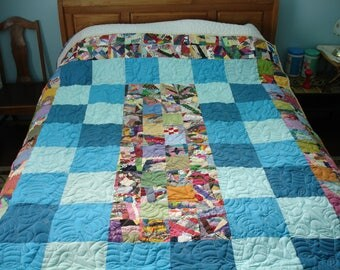 Scrappy Squares Cotton Polyester Full Batting Quilt