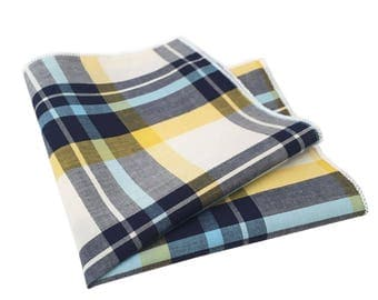 Yellow, Navy Blue, Light Blue and White Plaid Pocket Square