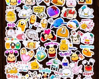 TSUM001- Disney Tsum Tsum Kawaii Cute stickers, Scrapbooking luggage White/Clear waterproof 40 pcs