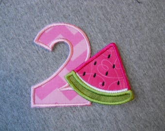 Made to order ~ Slice of Watermelon Number ( Choose a number) iron on or sew on applique patch