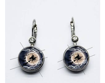 Earrings grey witch earrings