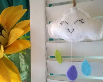 Smiling Felt Cloud with Coloured Rain Drops, great Baby gift!