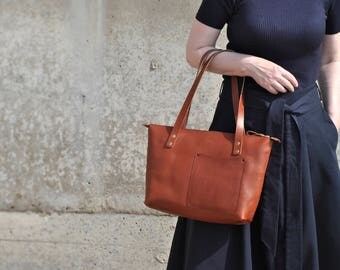 Small leather tote bag, YKK zipper tote, leather handbag bag, leather laptop bag, leather shoulder bag, Bags and Purses, leather zipper tote