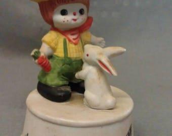 UOCC Taiwan Musical Box  Figurine Talk To The Animals Child with Rabbit on Top