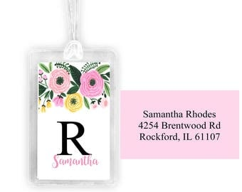 floral  luggage tag, personalized luggage tag, custom luggage tag, monogramed tag, , bag tag, diaper bag tag,