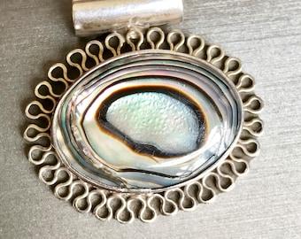 Silver Abalone Pendant,Vintage Abalone Pendant,925 Abalone Pendant