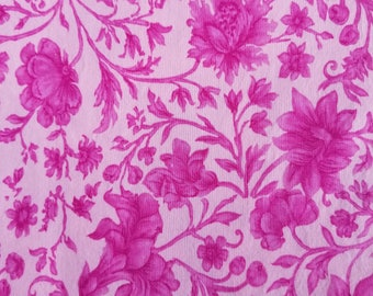 Pink Floral Cotton Fabric, Sewing Fabric, Quilting Fabric, 1.67 yards-Ready to Ship