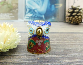 Sewing thimble - collectible thimble - enamelled porcelain thimble - bird - Owl - Antique thimbles - Sewing accessory