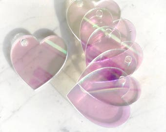Iridescent Heart Shaped Tags (valentines day)