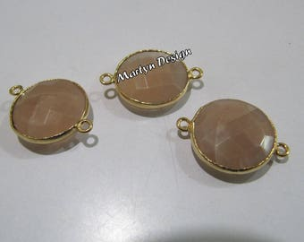 AAA Quality Natural Peach Moonstone Coin Shape Briolette Connector Double Loop Bezel Connectors , Gemstone Charms , Size 15mm