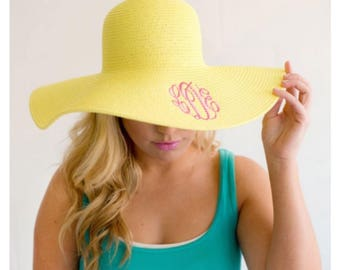 Monogram Sun Hat, Monogram Beach Hat, Floppy Hat, Straw Hat, Monogram Floppy Hat, yellow Hat, Ladies beach hat, personalized hat, cruise hat