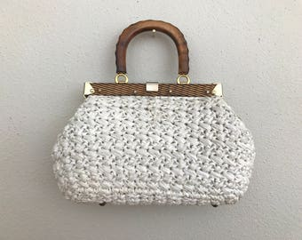 1960's White Straw Handbag with Wooden Handle and Gold Hardware