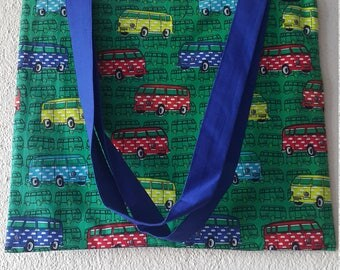 Handmade Colorful CARAVAN Tote BAG With  lining and a small pocket