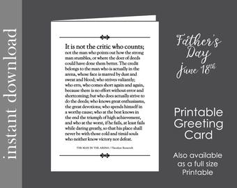 Fathers Day Card, printable card, Graduation Printable, graduation card, The Man In The Arena, coworker card, inspirational card, boss card