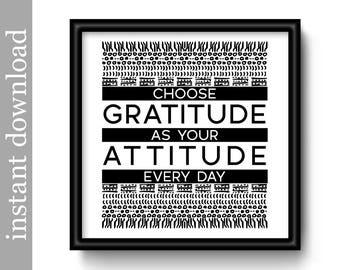 Gratitude Quote, Printable Wall Art, inspirational quote, motivational quote, gratitude printable, office wall art, dorm art, black decor