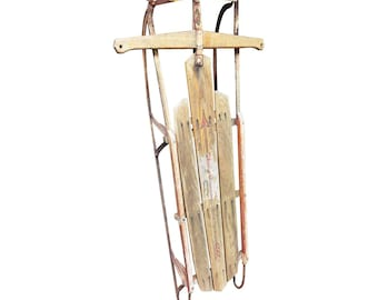 Vintage Wood Sled metal wooden wall art decor FLEXIBLE FLYER rustic weathered loft display country weathered shabby cabin decor 51J 17025