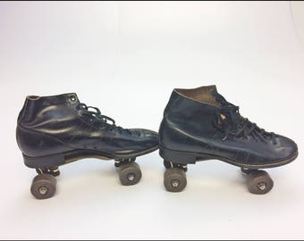 Vintage Hyde Chicago LEATHER ROLLER SKATES size 8 derby black wood wheel betty lyttle athletic