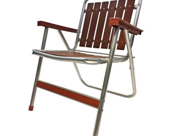 Vintage REDWOOD FOLDING CHAIR Aluminum lawn mid century modern metal wood porch 60s mid century modern outdoor seating metal pool