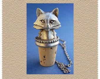 Fox Head Hunting Wine Fine Pewter Bottle Stopper
