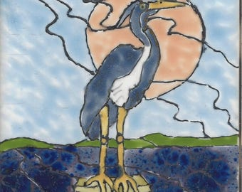 Great Blue Heron #401 Hand Painted Kiln Fired Decorative Ceramic Wall Art Tile 4.5 x 4.5