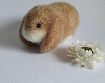 Felted lop eared bunny rabbit in honey light brown desk buddy keepsake mascot small Mother's day gift stocking stuffer