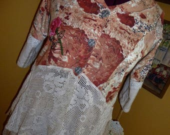 Barkcloth and Crochet Doily Jacket, Handmade, Hand Embroidered, Large