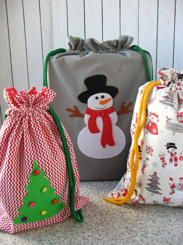 Set of 3 - Reusable Christmas Gift Bags - Holiday Package - Eco ...