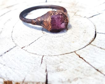 Pink tourmaline ring in copper